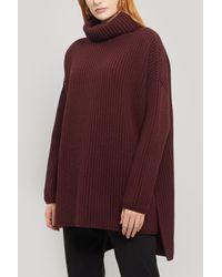 JOSEPH Oversized Turtleneck Ribbed Wool Jumper - Purple