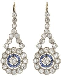 Kojis - White Gold Edwardian Diamond And Sapphire Drop Earrings - Lyst