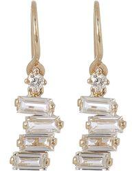 Suzanne Kalan - Gold White Topaz Diamond Drop Earrings - Lyst