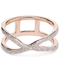 Monica Vinader - Rose Gold Vermeil Riva Wave Cross Ring - Lyst