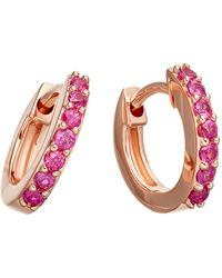 Astley Clarke Pink Sapphire Mini Halo Hoop Earrings