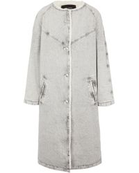 Isabel Marant Kaleia Faux Shearling-trimmed Denim Coat - Grey
