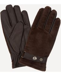 Dents Malton Fleece-lined Corduroy And Leather Gloves - Brown
