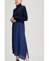 Crea Concept Check Paneled Roll-neck Dress - Blue