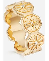 Astley Clarke Gold Plated Vermeil Silver Celestial White Sapphire Ring - Metallic