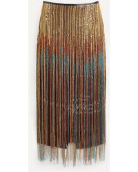 Dries Van Noten Runway Salby Sequin Fringe Embellished Skirt - Multicolor