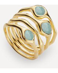 Monica Vinader Gold Plated Vermeil Silver Siren Aquamarine Cluster Cocktail Ring - Metallic