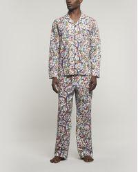 Liberty Jeweltopia Tana Lawntm Cotton Long Pyjama Set - White