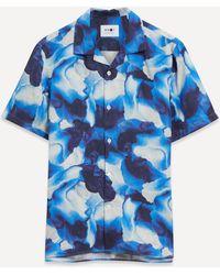 NN07 Miyagi 5012 Printed Lyocell Blend Shirt - Blue