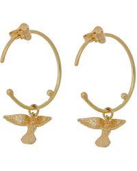 Alex Monroe Gold Teeny Tiny Hummingbird Hoop Earrings - Metallic