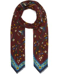 Drake's Wool Bird And Flower Scarf - Red