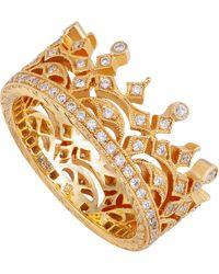 Kojis Gold Diamond Crown Ring - Metallic