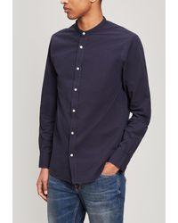Officine Generale Gaspard Grandad-collar Cotton-seersucker Shirt - Blue