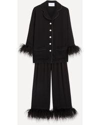 Sleeper Party Feather-trim Pajama Set - Black