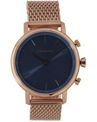 Kronaby - Carat Blue Dial Rose Gold Mesh Strap Watch - Lyst