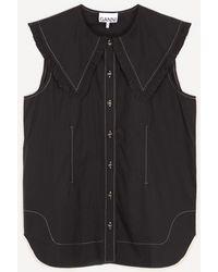 Ganni Ruffle Collar Organic Cotton Top - Black