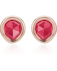 Monica Vinader - Rose Gold Vermeil Pink Quartz Siren Mini Stud Earrings - Lyst