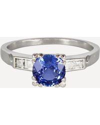 Kojis Platinum 1940s Blue Sapphire And Diamond Ring - Metallic