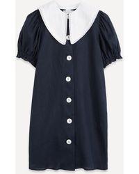 Sleeper Marie Collar Linen Mini-dress - Blue