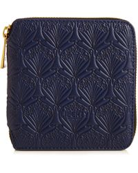 Liberty Small Wallet In Embossed Leather - Blue