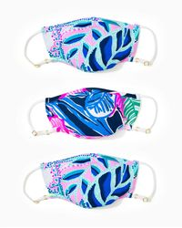 Lilly Pulitzer Chillylilly Kids Face Mask Set - Blue