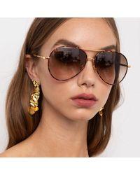Linda Farrow Diabolo C2 Aviator Sunglasses - Brown