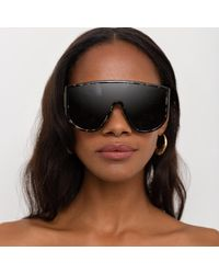 The Attico Iman Shield Sunglasses In Tortoiseshell - Black