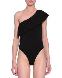 Laneus - One Shoulder Ruffled Swimsuit - Lyst