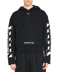 Off-White c/o Virgil Abloh - Diagonal Temperature Cropped Cotton Hoodie - Lyst