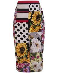 Dolce & Gabbana Patchwork Charmeuse Midi Skirt - Multicolour