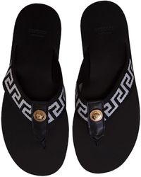 Versace Greca-motif Thong-strap Flip-flops - Black