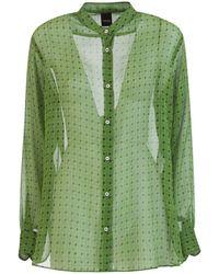 Aspesi Camicia con fantasia geometrica - Verde