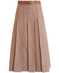 Gucci Gg Linen Canvas Pleated Skirt - Multicolour