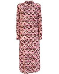 Aspesi Geometric-print Dress - Pink