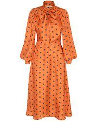 Lisou Penelope Mango Rainbow Print Silk Midi Dress - Orange
