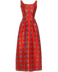 Lisou Marianne Metallic Red Peacock Jacquard Fit And Flare Dress