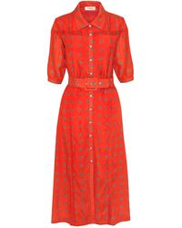 Lisou Alexa Red Peacock Print Voile Dress