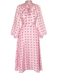 Lisou Penelope Pink Lily Print Silk Midi Dress