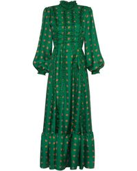 Lisou Gigi Green Peacock Print High Neck Ruffle Silk Dress