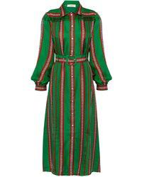 Lisou Alina Green Afro Print Silk Shirt Dress