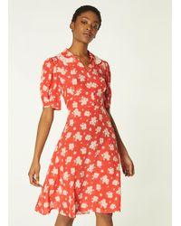 L.K.Bennett Roisin Sweet William Print Silk Dress - Red