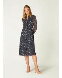 L.K.Bennett Ensor Navy Daisy Spot Print Shirt Dress - Blue