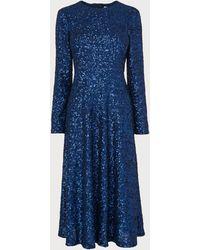 L.K.Bennett Lazia Navy Sequin Dress - Blue