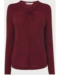 L.K.Bennett Sicily Twist Neck Striped Jersey Top - Pink