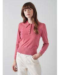 L.K.Bennett Liv Cotton-merino Wool Collared Jumper - Pink