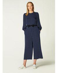 L.K.Bennett Harriet & Cream Spot Print Jumpsuit - Blue