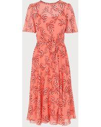 L.K.Bennett Mimi Pink Bow Print Silk Dress