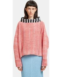 Eckhaus Latta Oversized Woven Knit Dolman Sweater In Red And White