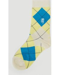 Pringle of Scotland Classic Argyle Socks In Beige - Natural