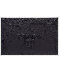 Prada - Saffiano Leather Card Holder In Black - Lyst